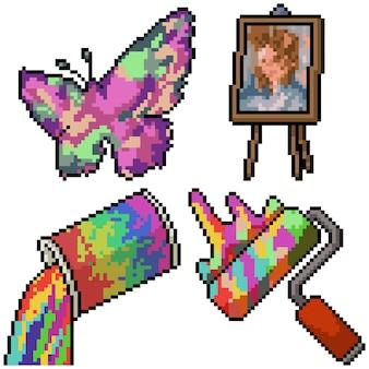 Pixel art set geïsoleerd artictisch schilderij