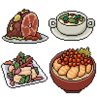 Pixel art set geïsoleerd aziatisch restaurant