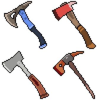 Pixel art set geïsoleerd bijl gereedschap