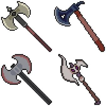 Pixel art set geïsoleerd bijl wapen