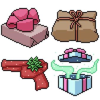 Pixel art set geïsoleerd cadeau aanwezig