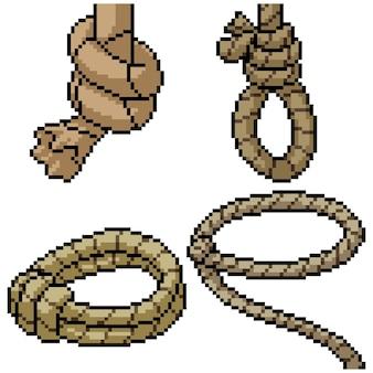 Pixel art set geïsoleerd cowboy touw