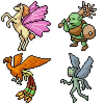 Pixel art set geïsoleerd fantasie monster