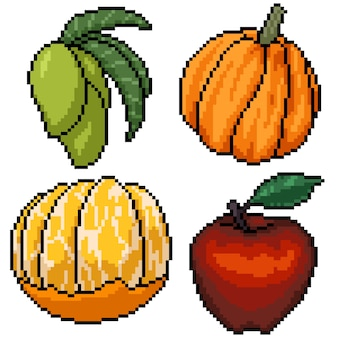 Pixel art set geïsoleerd fruit dessert