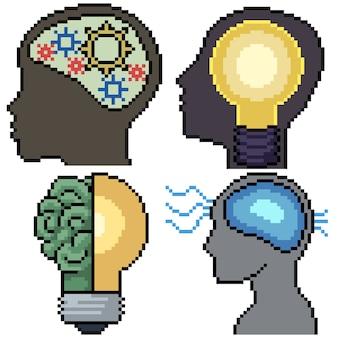 Pixel art set geïsoleerd intelligent brein