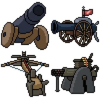 Pixel art set geïsoleerd kanon torentje