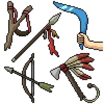 Pixel art set geïsoleerd oud wapen