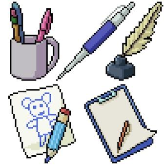 Pixel art set geïsoleerd pen briefpapier