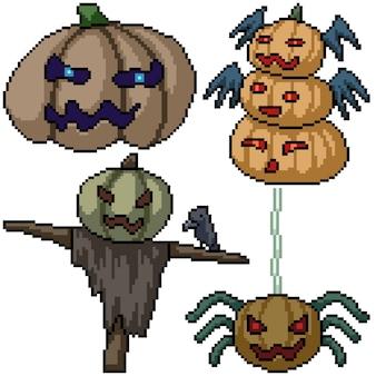 Pixel art set geïsoleerd pompoen monster halloween