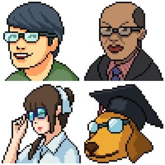 Pixel art set geïsoleerd professioneel gezicht
