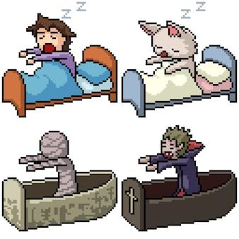 Pixel art set geïsoleerd slaap wakker worden