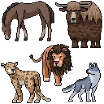 Pixel art set geïsoleerd wild dier