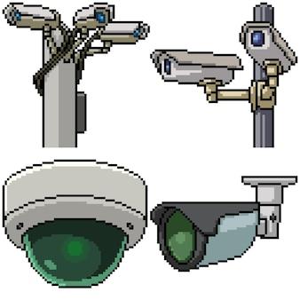 Pixel art set geïsoleerde beveiligingscamera