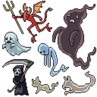 Pixel art set geïsoleerde dood demon geest