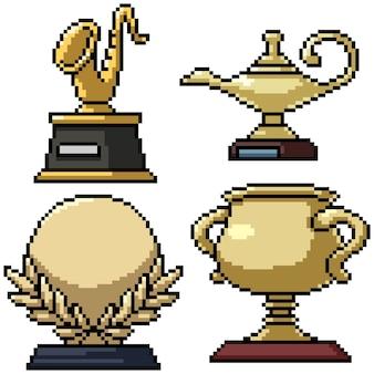 Pixel art set geïsoleerde gouden trofee