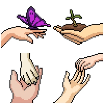 Pixel art set geïsoleerde hand zorgzame emotie
