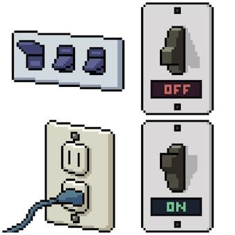 Pixel art set geïsoleerde huis elektriciteit