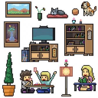 Pixel art set geïsoleerde huis woonkamer