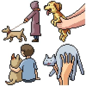 Pixel art set geïsoleerde huisdierenvriend