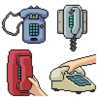 Pixel art set geïsoleerde klassieke telefoon