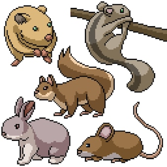 Pixel art set geïsoleerde kleine knaagdieren