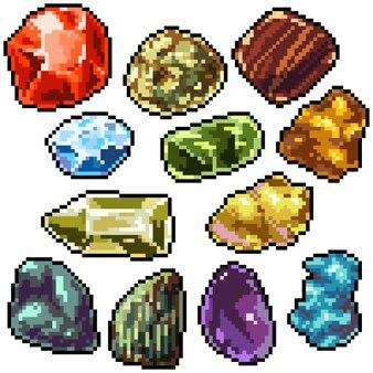Pixel art set geïsoleerde kleurrijke edelsteen