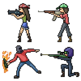 Pixel art set geïsoleerde maffia-jager