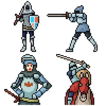 Pixel art set geïsoleerde middeleeuwse ridder