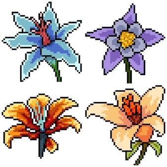 Pixel art set geïsoleerde mooie bloem