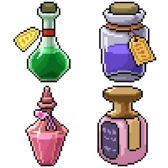 Pixel art set geïsoleerde parfumfles