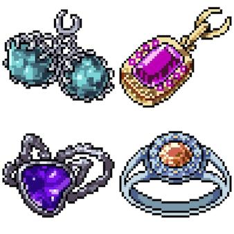 Pixel art set geïsoleerde sieraden decoratie