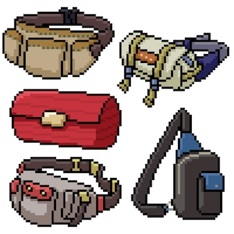 Pixel art set geïsoleerde tas mode