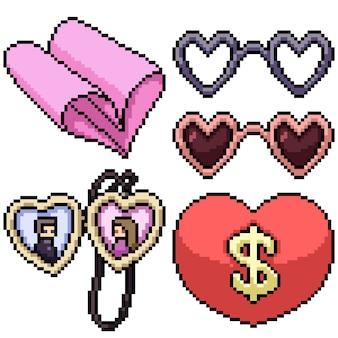 Pixel art set geïsoleerde valentijn gadget