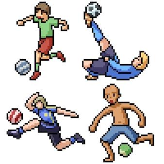 Pixel art set geïsoleerde voetballer