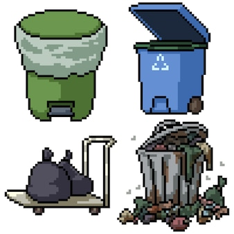 Pixel art set geïsoleerde vuilnisbak