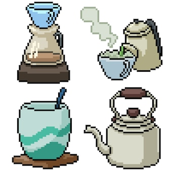Pixel art set geïsoleerde warme drank