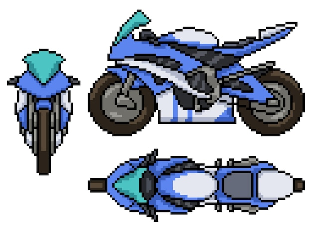 Pixel art set van geïsoleerde moderne motorfiets