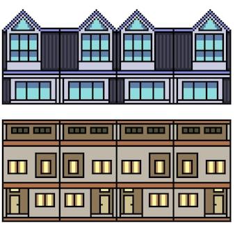 Pixel art set van geïsoleerde stad thuislus