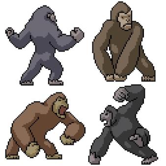 Pixel art set van geïsoleerde sterke kong