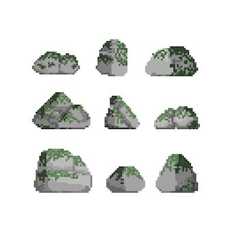 Pixel art set van steen met mos illustratie