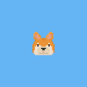 Pixel art shiba inu hoofd