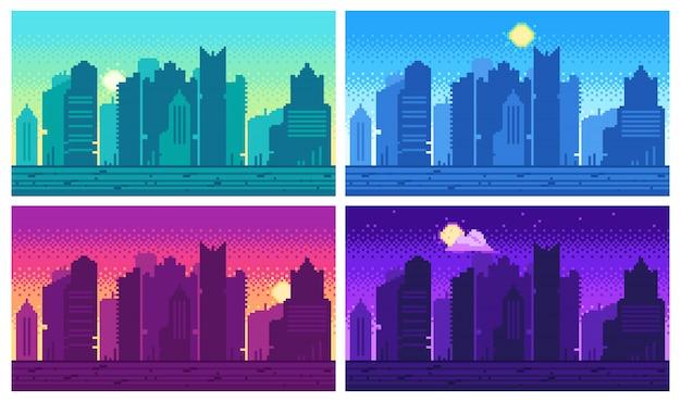 Pixel art stadsgezicht. stadsstraat 8 bit stadslandschap, dag en nacht stedelijke arcadespellocatie