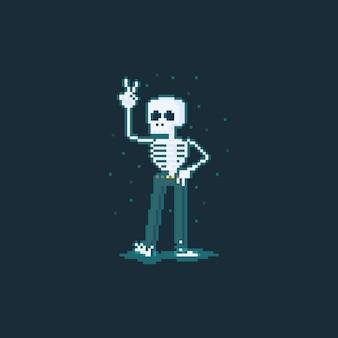 Pixel art stripfiguur grappig skelet.