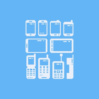 Pixel art telefoon icon set.