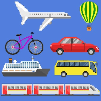 Pixel art transportset: vliegtuig, aerostat, fiets, auto, schip, bus, trein.