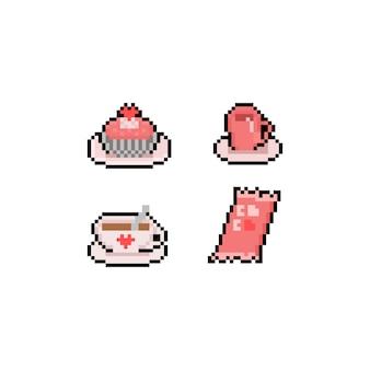 Pixel art valentijn dessert icon set.