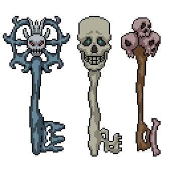 Pixel art van fantasie schedel sleutel geïsoleerd op wit