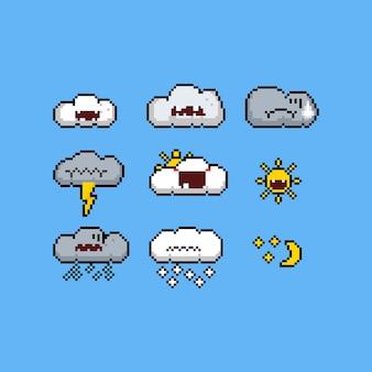 Pixel art weer emoticon ontwerpset.