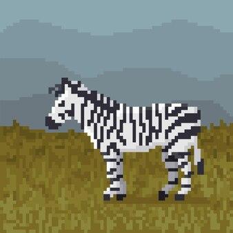 Pixel art zebra in safari.