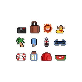 Pixel art zomer pictogram ontwerpset.